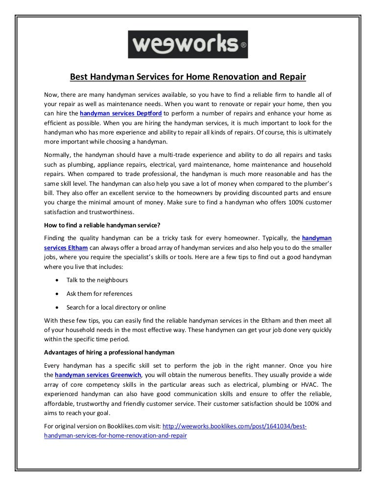 Best Handyman Services for Home Renovation and Repair