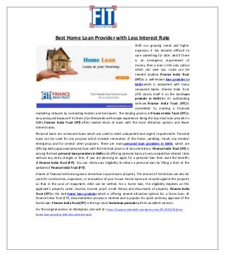 Best Home Loan Provider with Less Interest Rate