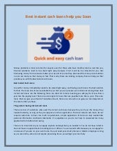 Best instant cash loans help you soon