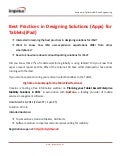 Best Practices in Designing Solutions (apps) for Tablets (iPad)