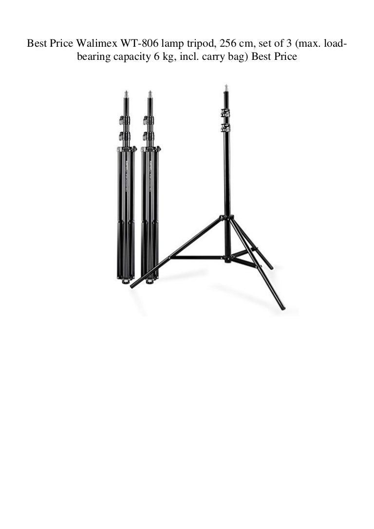 max. load-bearing capacity 6 kg, incl. carry bag Walimex WT-806 lamp tripod set of 3 256 cm