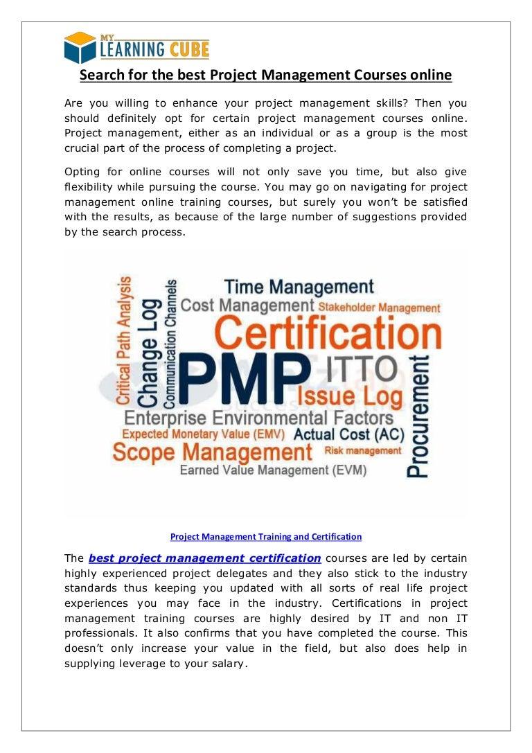 Best Project Management Courses Online Via My Learningcube