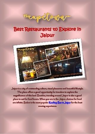 Best restaurants to explore in jaipur
