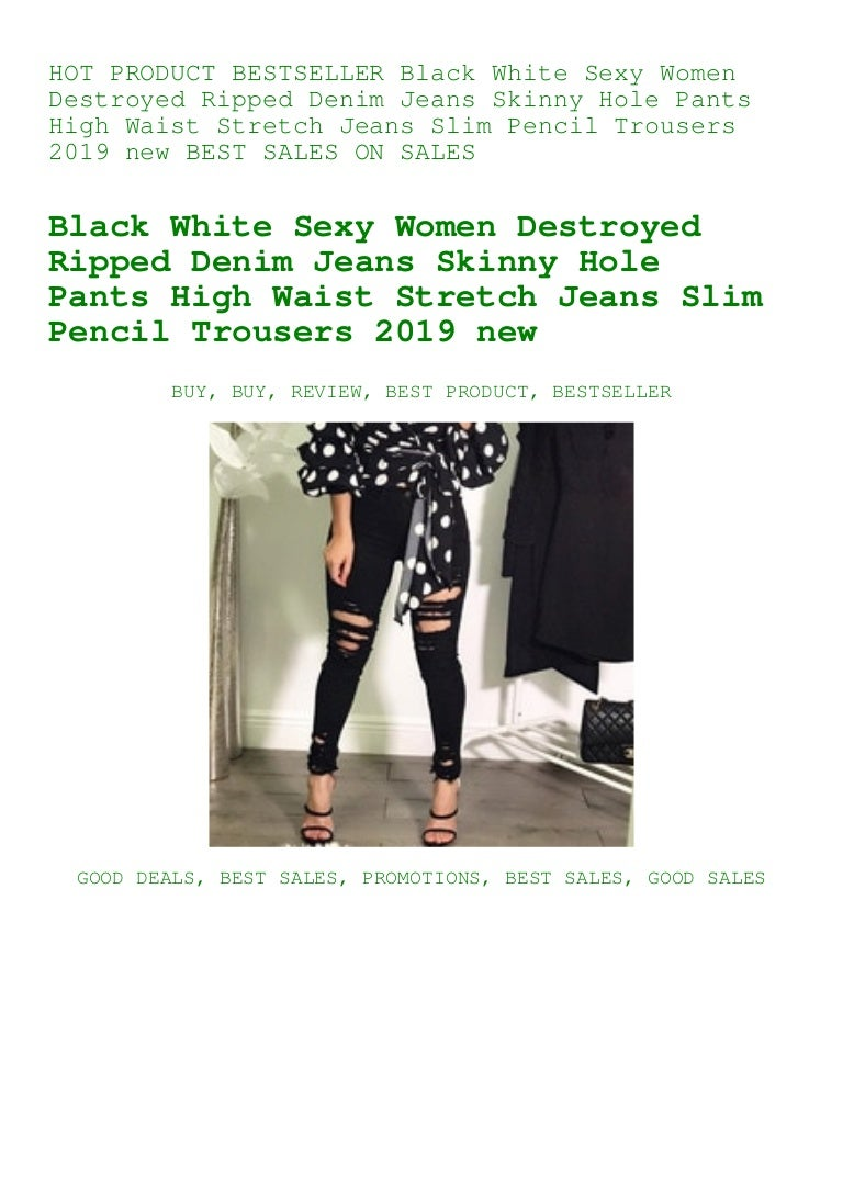 Women/'s High Waisted Skinny Destroyed Ripped Hole Stretch Pencil Jeans Pants