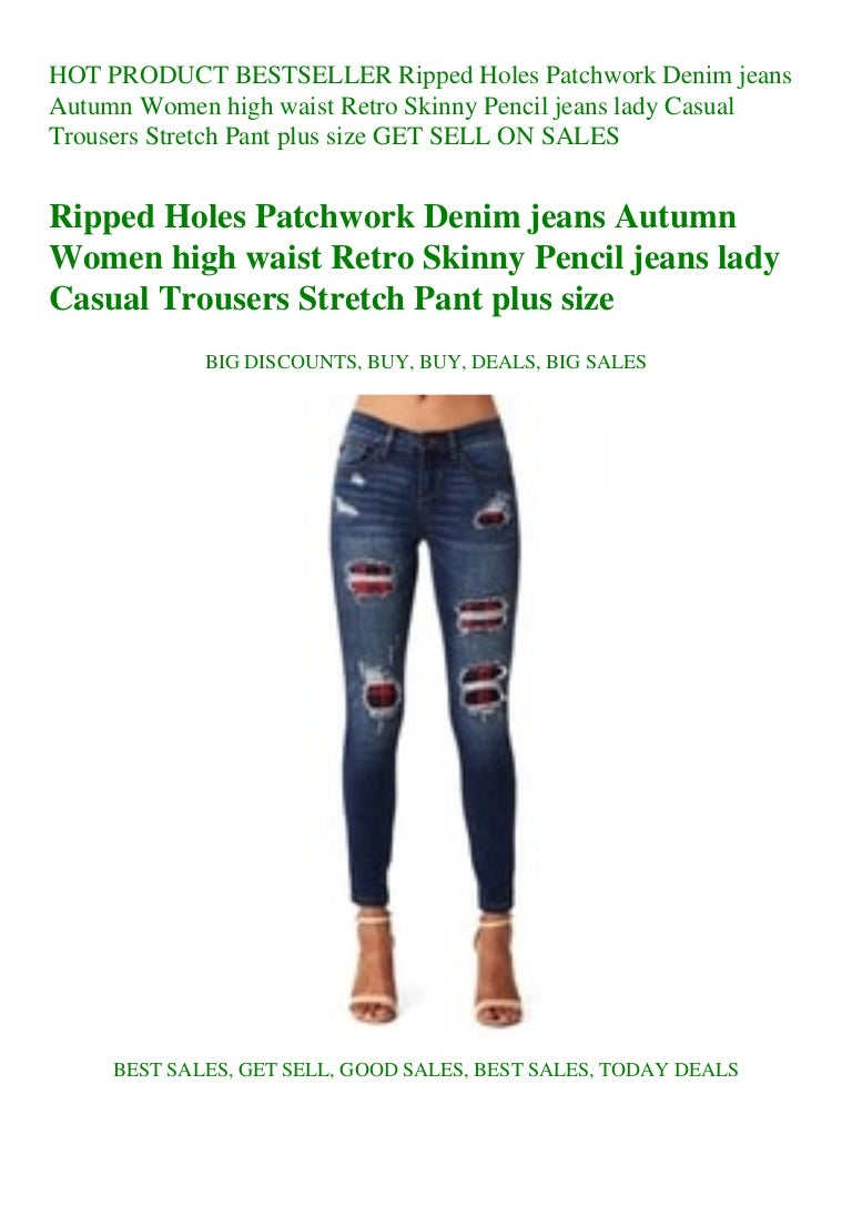 Women High Waist Hole Stretch Skinny Ripped Jeans Pants Pencil Trousers Denim