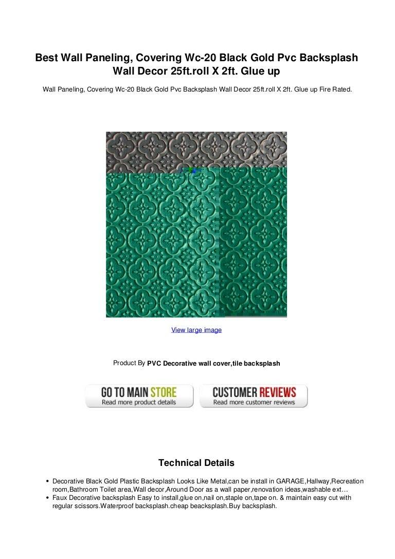 - Best Wall Paneling Covering Wc 20 Black Gold Pvc Backsplash Wall Deco…
