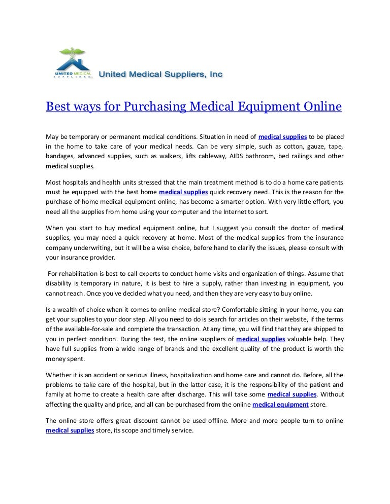 Best ways for Purchasing Medical Equipment Online