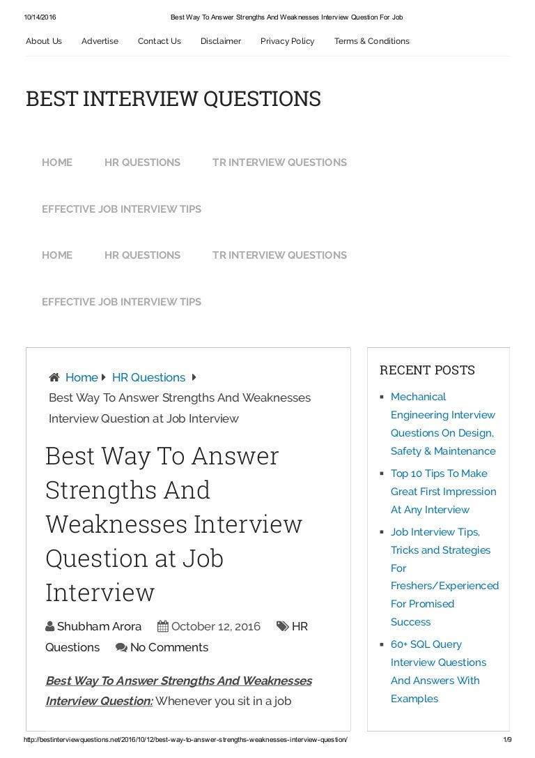 interview question weakness examples best way to answer strengths ...