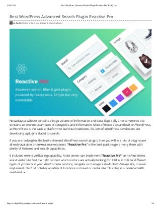 Best WordPress Advanced Search Plugin Reactive Pro