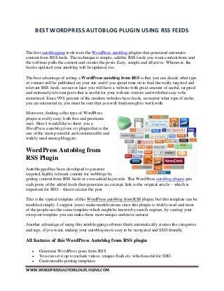Best WordPress Autoblog Plugin Using RSS Feeds