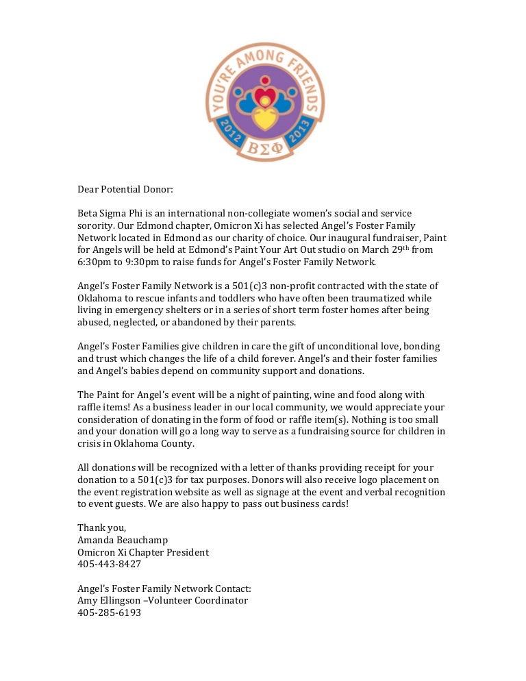 beta sigma phi fundraiser letter