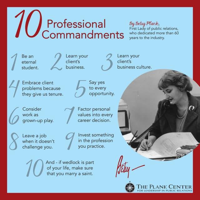 Betsy Plank's 10 Professional Commandments