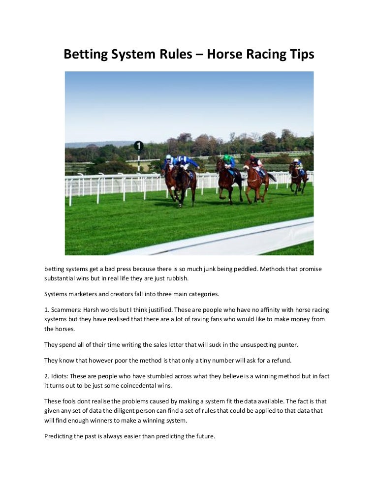 Rules on horse racing betting strategies new jersey sports betting lawsuit loans