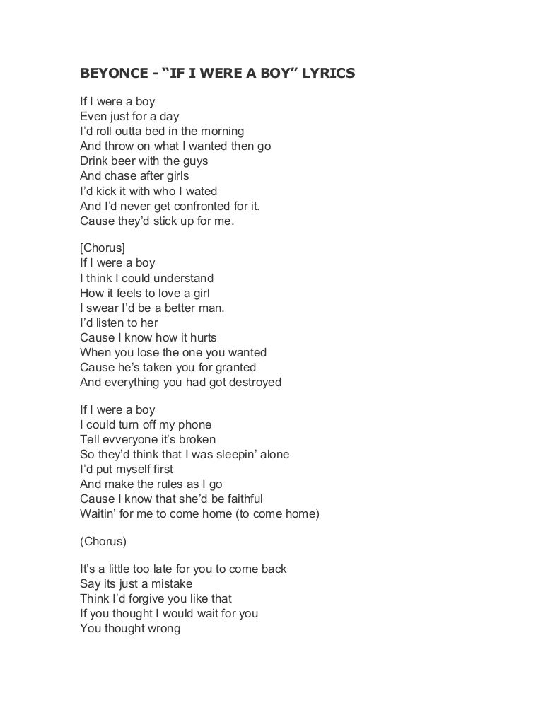 Lyrics of beyonce if i were a boy