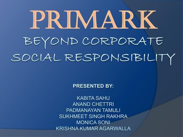 Primark Corporate Social Responsibility Essay Sample