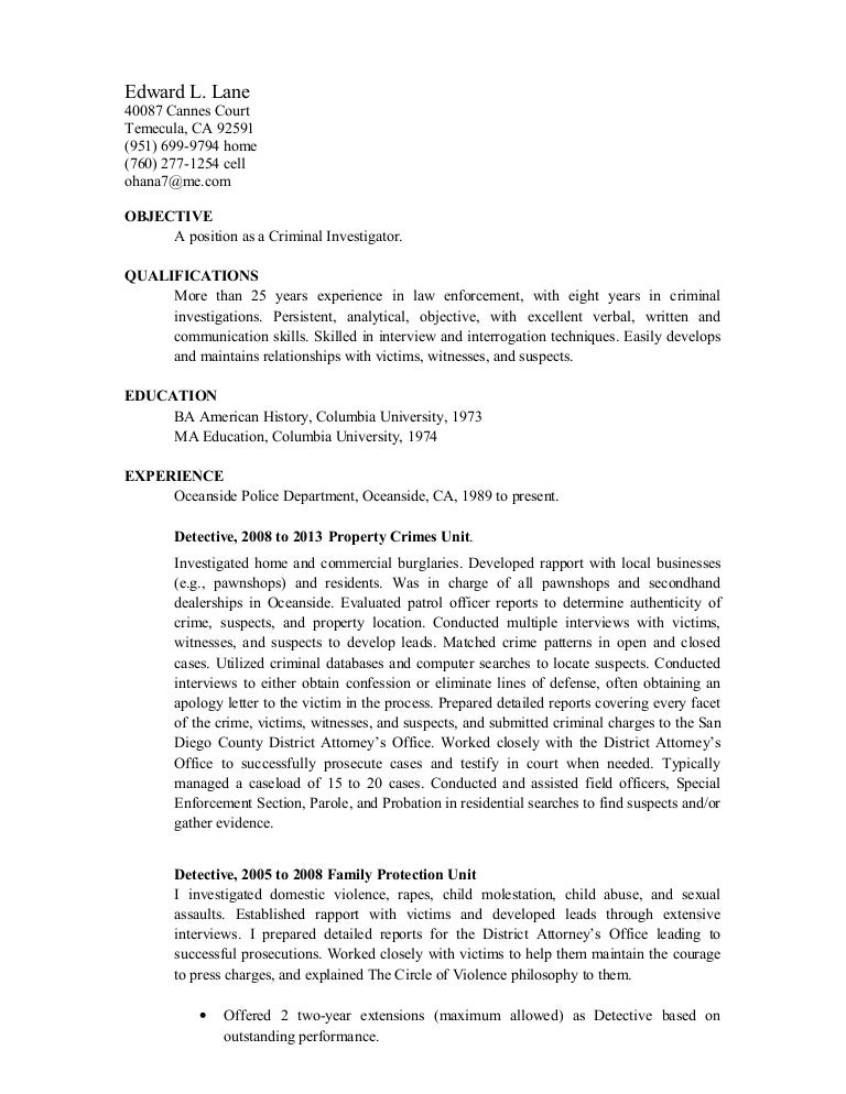 Criminal Investigator Resume Background Investigation Cover Letter