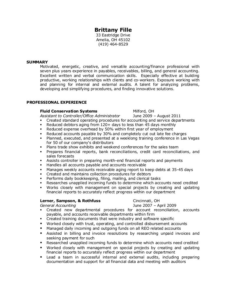 SlideShare  Account Receivable Resume