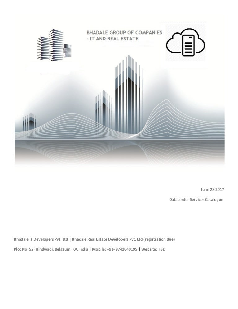 Bhadale group of companies datacenter services catalogue