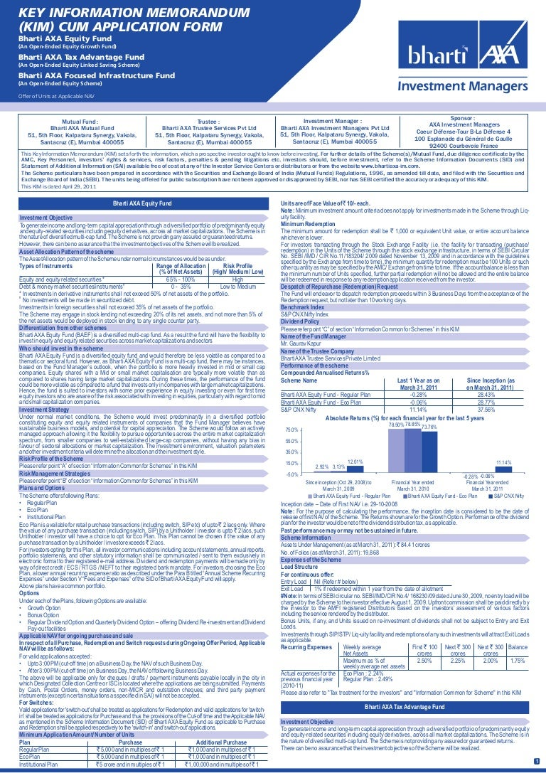 Bharti axa mutual fund application form equity with kim