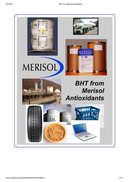 Bht from merisol antioxidants