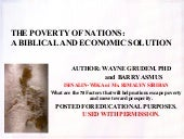 The Poverty of the Nations: A Biblical and Economic Solution