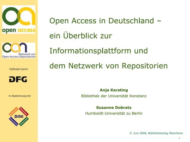 Bibliothekartag 2008 - Open Access in Deutschland