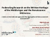 Biblissima: Federating Research on the Written Heritage of the Middle Ages and the Renaissance