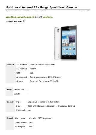 Spesifikasi Huawei Ascend P2