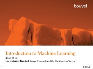 Introduction to Big Data/Machine Learning