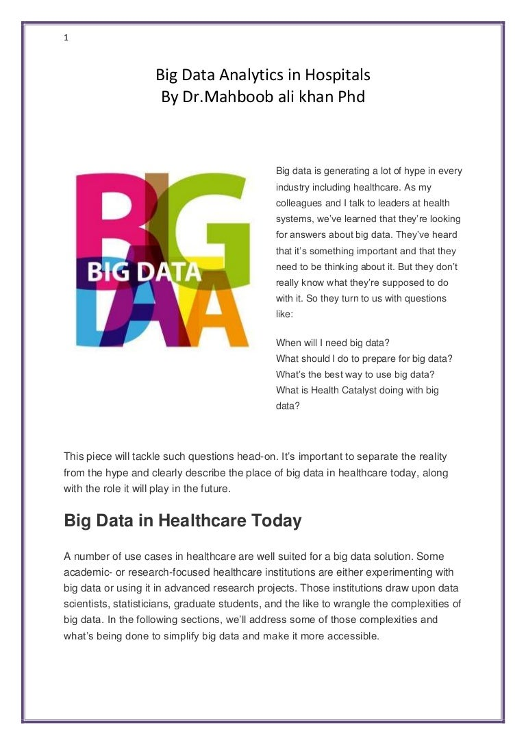 Enterprise analytics serving big data projects for healthcare - Enterprise Analytics Serving Big Data Projects For Healthcare 39