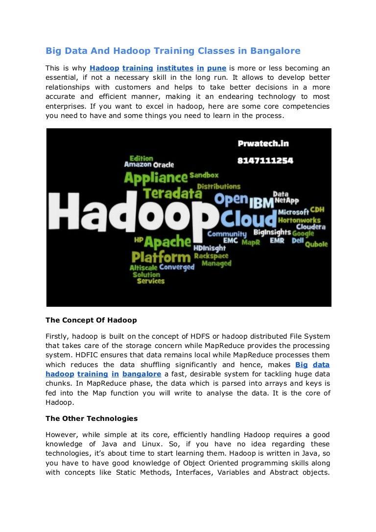 Big data and hadoop training classes in bangalore prwatech