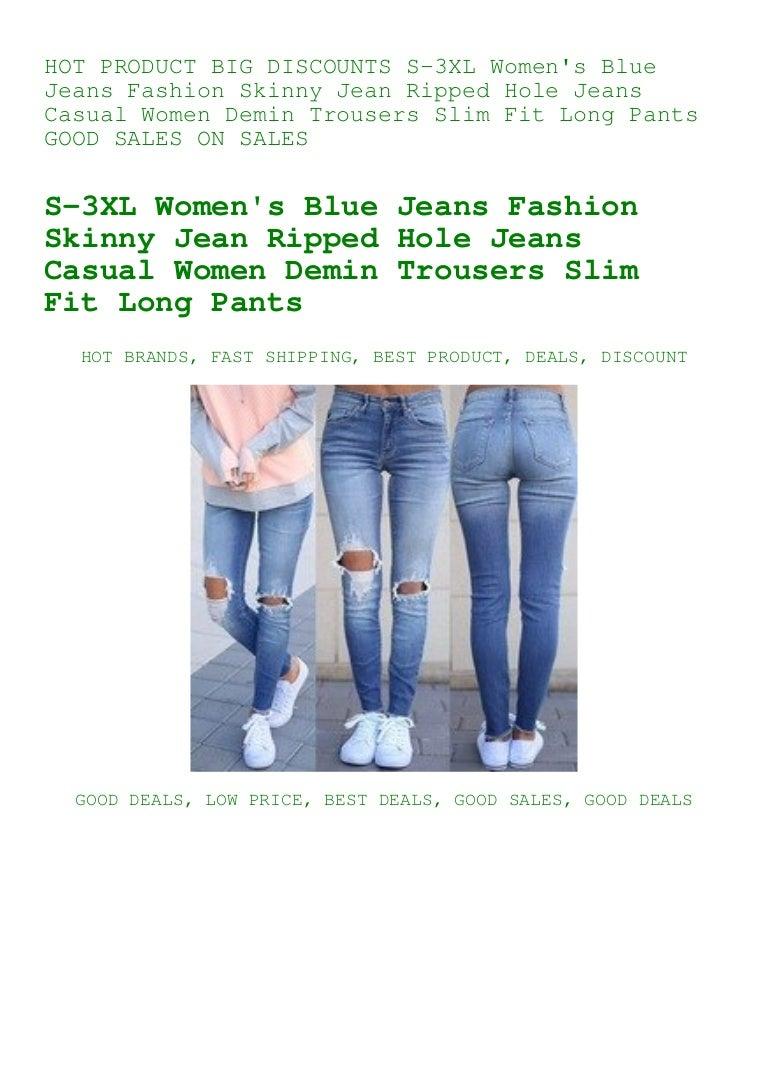 Women Fashion Ripped Hole Denim Jean low waist skinny jeans  Women Jean Trousers