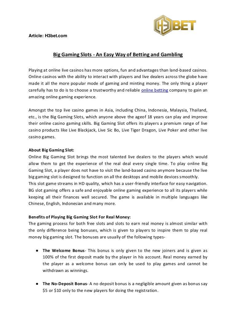 Big Gaming Slots An Easy Way Of Betting And Gambling
