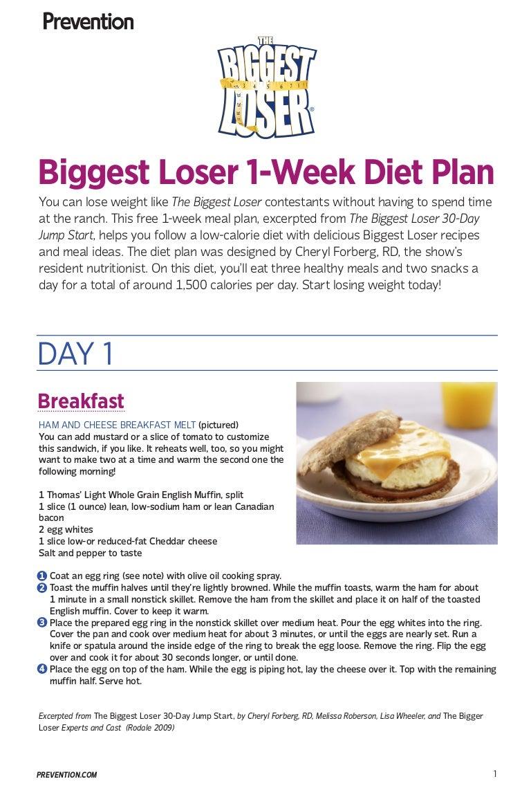 biggest loser diet plan