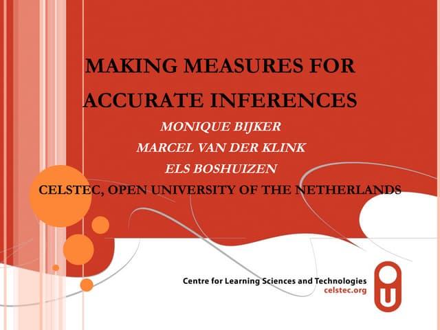Bijker, M. (2010)   Making Measures And Inferences Reserve