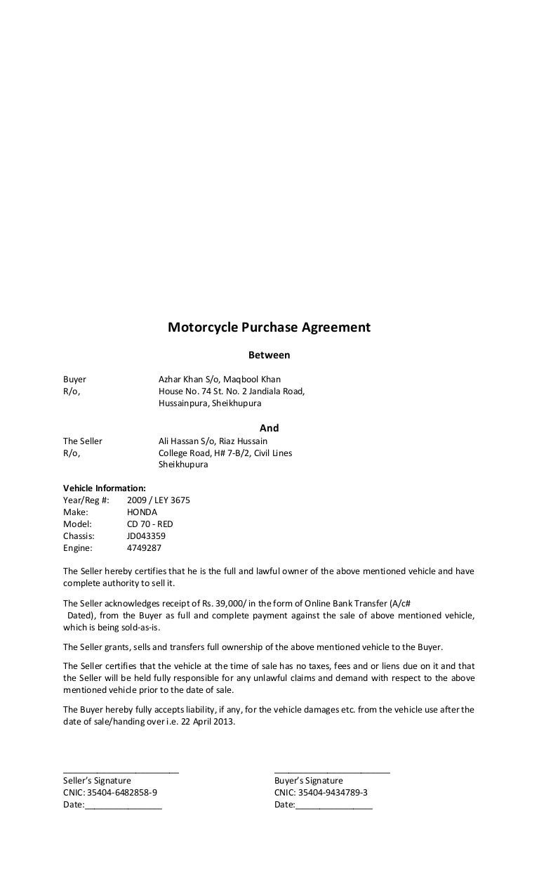 Bike Purchase Agreement