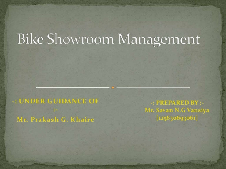 Bike showroom management