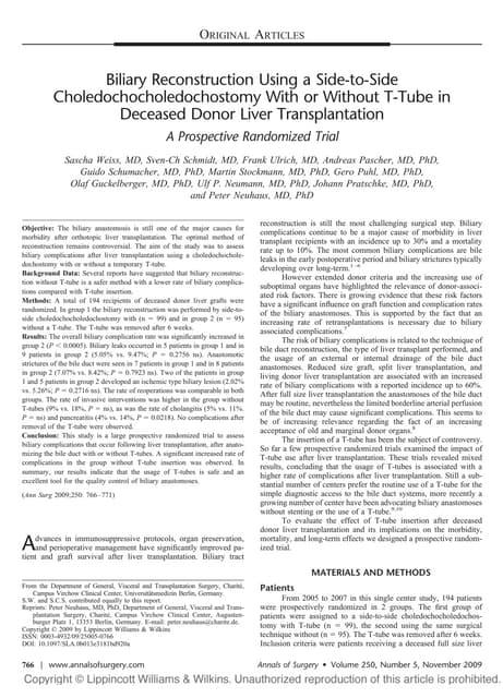 Biliary Reconstruction Side To Side Choledochocholedochostomy