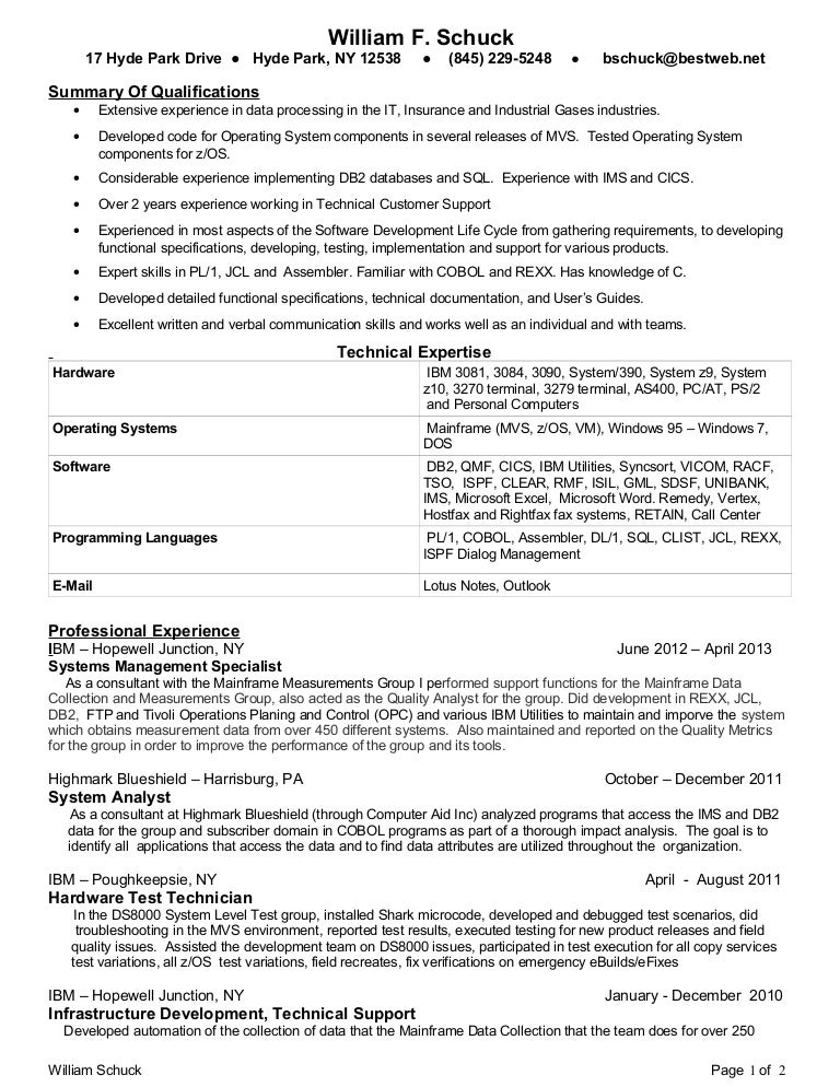 bill schuck mainframe programmer 2013 resume - Programmer Analyst Sample Resume