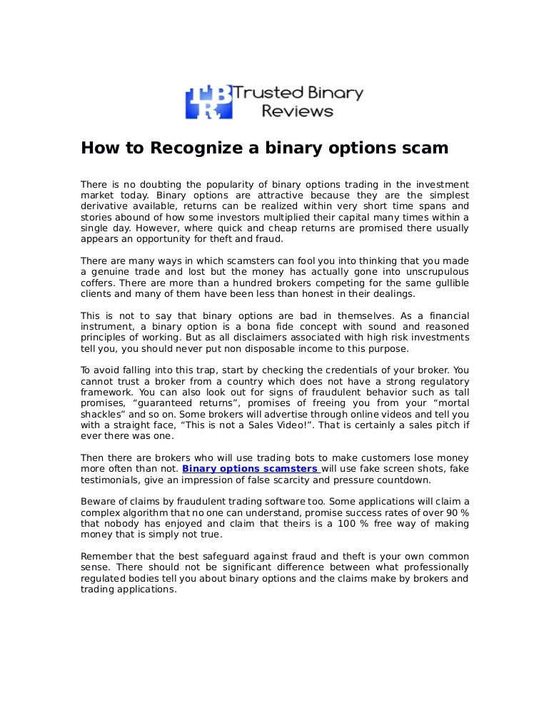 Binary options scams list