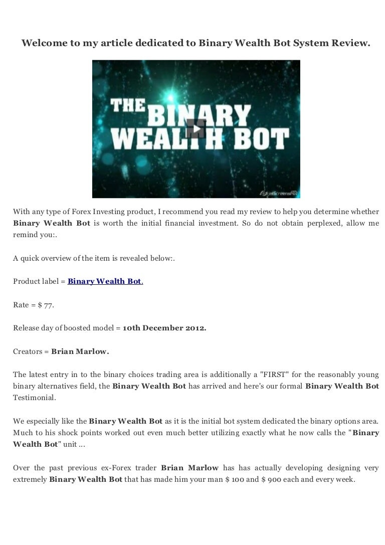 first binary options bot review