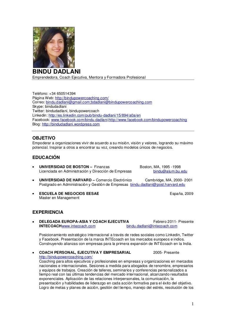 Bindu Dadlani CV Español