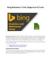Bing Webmaster Tools: Diagnostics & Tools