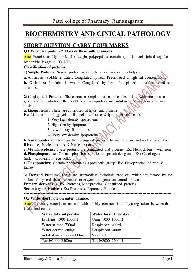 Biochemistry Biochemistry and clinical pathology -NOTES