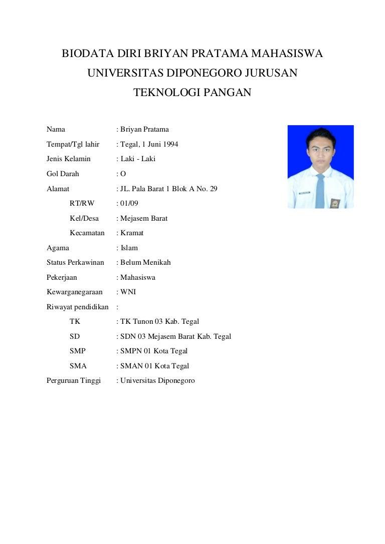 Biodata Diri Briyan Pratama 23020112100025 Mahasiswa Universitas Dipo