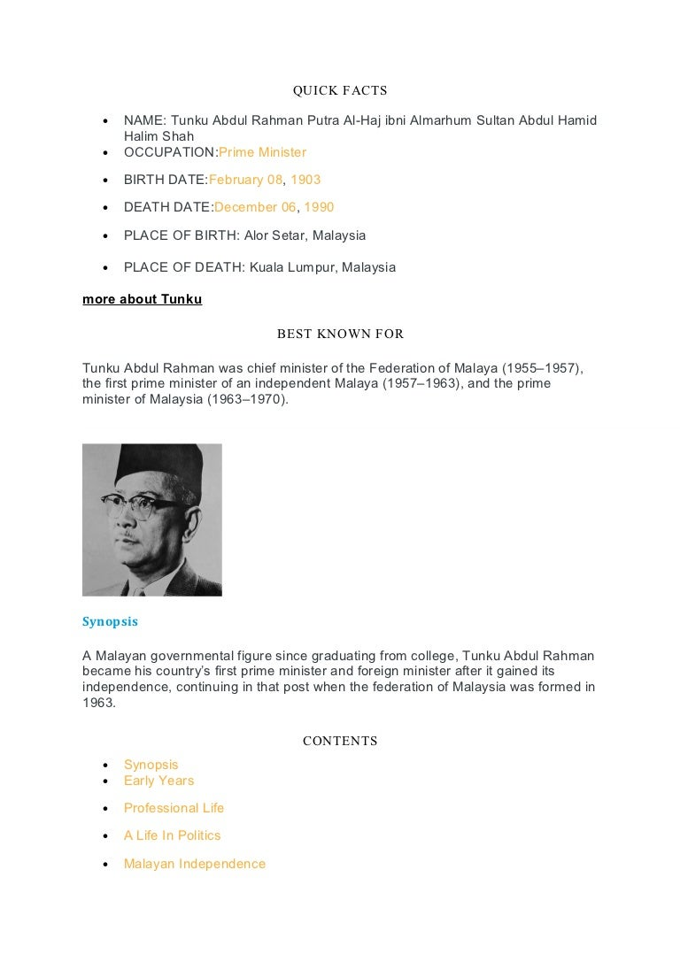 Biography Of Tunku Abdul Rahman