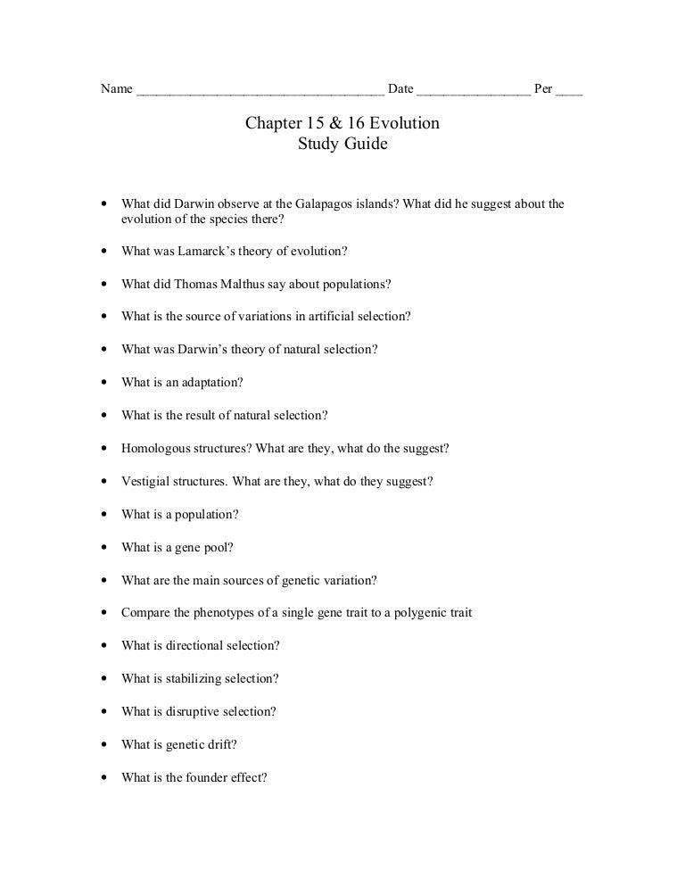 biology chp 15 16 evolution study guide rh slideshare net biology chapter 15 study guide answer key biology chapter 15 study guide answer key