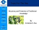 Bio piracy and protection of traditional knowledge