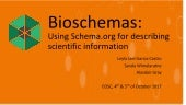 Bioschemas: Using Schema.org for describing scientific information