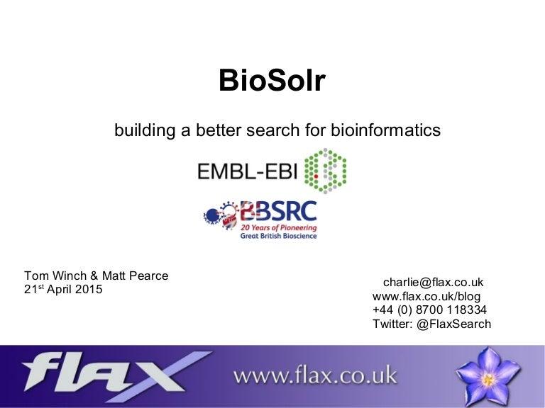 Bio solr building a better search for bioinformatics
